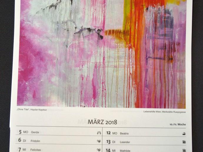 Innenblatt des Kalenders mit zweiwöchiger Übersicht