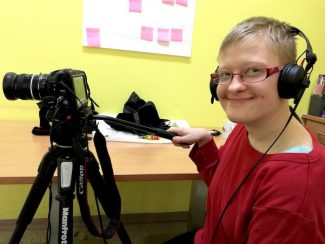 Jacqueline Fischer übt sich als Kamerafrau