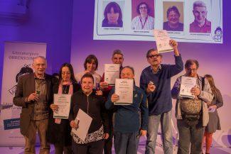 Wolfgang Prochazka (zweiter von rechts) hier mit allen EhrenpreisträgerInnen und Schirmherrn Felix Mitterer (erster von links im Bild)