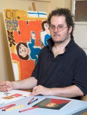 David Bammer aus der Tagesstruktur der Lebenshilfe am Standort Rueppgasse malt gerne, Foto: Richard Pobaschnig